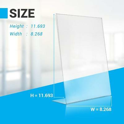 """6 Pack Durable Acrylic Slanted Sign Holder Stand Photo Signage Display 8.5""""X11"""""""