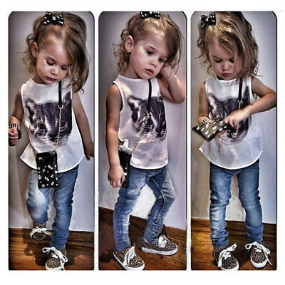 Denim Pants Kids Cartoon Clothes Sleeveless Tops Kids Girls Outfits