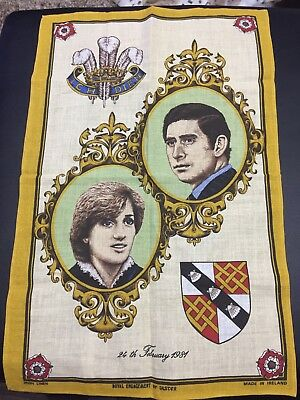 Vtg Tea Towel 1981 Prince Charles & Princess Diana