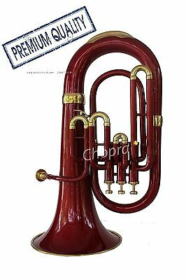 Offer Euphonium Colored Red Bb FLAT 3 Valve M/ Piece & Bag Free