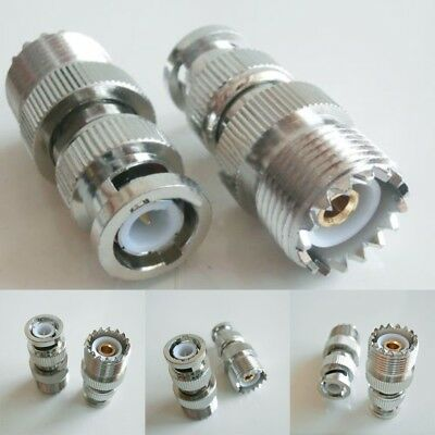 UHF Female SO-239 SO239 Plug To BNC Male Jack RF Silver Adapter Connector PL259