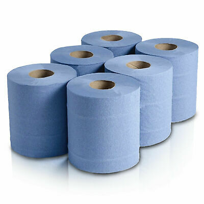6 x 'Essentials' 1 Ply 100% Recycled Paper - Centrefeed Roll - Blue