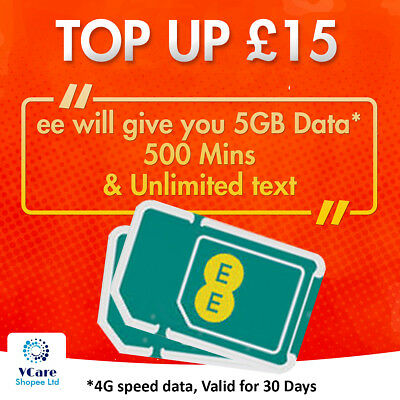 EE 4G Trio SIM Card Preloaded With £10 And 10GB Data for 30 Day+£1YellowTalkFREE