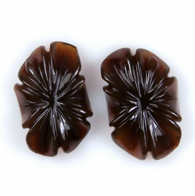 52.50 CTS Smoky Onyx Carved Flower Fancy Shape HandCrafted Pair Carving Gemstone