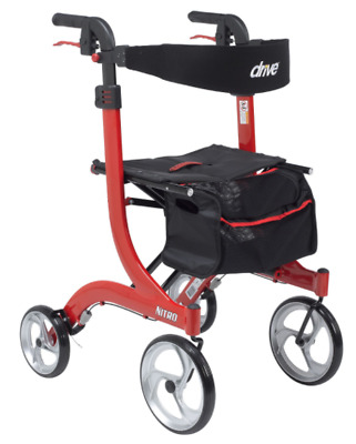 Drive Medical TALL Nitro Euro Rollator Folding Walker Adult 10266-T Red ~NIB~