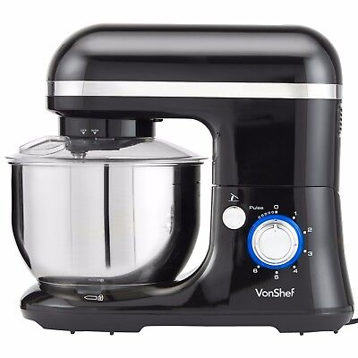 VonShef Food Stand Mixer 650W Electric Machine Compact with Splash Guard - Black