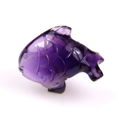10.4 CTS Natural African Amethyst Carved Purple Fish Handcrafts Carving Gemstone