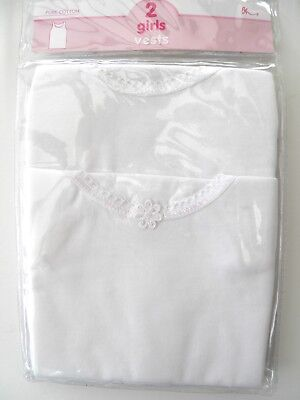 Girls 2 Pack White Cotton Vests BHS Pretty Sparkle 18 Months to 4 Years