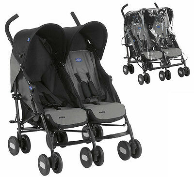 Chicco Echo Twin Double Pushchair Buggy From Birth With Raincover RRP £189