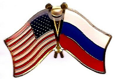 LOT OF 3 Russia Friendship Flag Lapel Pins - Russian Crossed Flag Pin