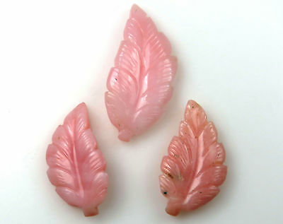 29.6 Cts Natural Pink Opal Carved Leaf Hand Crafted Leaves Carving 3 Pcs Set Lot