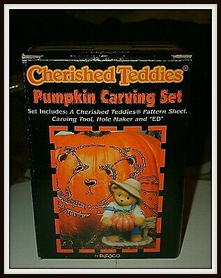 Cherished Teddies Figurine ED w/Pumpkin Carving Set 1999 LE #466220 Enesco NIB