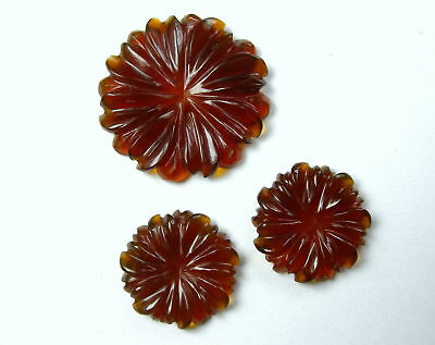 26.2 CTS Red Onyx Carved Flower Design Hand Crafted Carving 3 Pcs set Gemstones