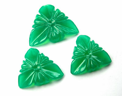 26.2 CTS Green Onyx Carved Flower Design Hand Crafted Carving 3 Piece set Lot