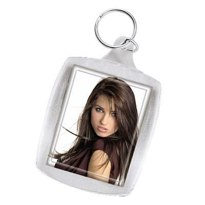 CLEAR ACRYLIC PLASTIC BLANK KEYRINGS 45 x 35MM INSERT – PASSPORT PHOTO SIZE