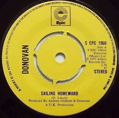 Donovan - Sailing Home / Yellow Star - 1973 EPIC (EX)