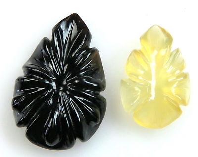36.2 CTS Multi Color Onyx Carved Flower Design Hand Crafted Carving 2 Pcs Lot