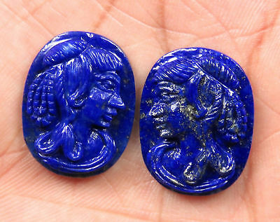 33.2 Cts Natural Lapis Lazuli Carved Face Hand Crafted Carving Pair 24 x 18 mm