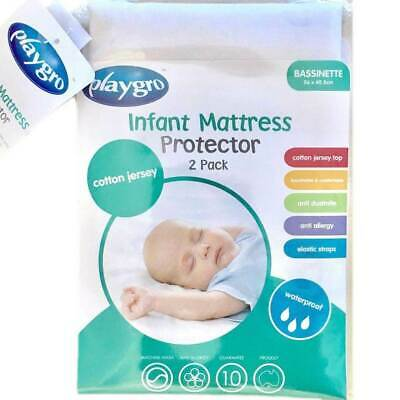 Playgro 2 Pk Cotton Waterproof Infant Baby Bassinet Mattress Protectors