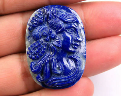 52.2 Cts Natural Lapis Lazuli Carved Lady Face Hand Crafted Carving 35 x 25 mm