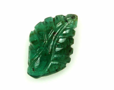 3.1 Cts Natural Zambian Emerald Carved Leaf Hand Crafted Carving 15 x 10 x 4 mm
