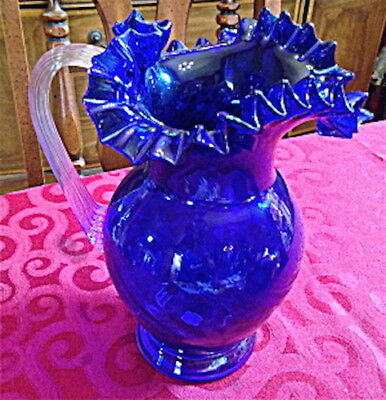 Murano Cobalt Blue Fluted Pitcher With Clear Applied Glass Handle