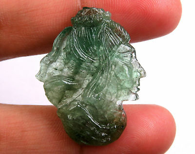 23.4 Cts Natural Zambian Emerald Carved Lady Face Hand Crafted Carving 31 x 25mm