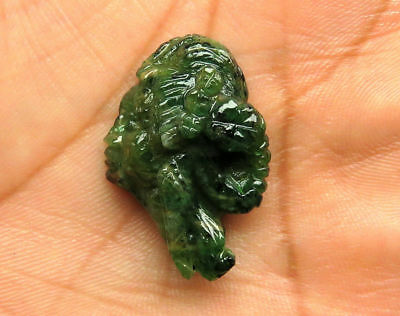 25.3 Cts Natural Zambian Emerald Carved Face Hand Crafted Carving 28 x 20 x 9 mm