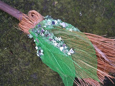 Witches Mini broom Besom Altar spell supplies Pagan Witchcraft green leaf