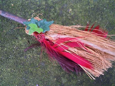 Witches Mini broom Besom Altar spell supplies Pagan Witchcraft red feather