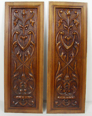 pair  antique panel cabinet door style renaissance foliage