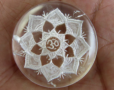 103.8 CTS Crystal Clear Quartz Intaglio Carving Cabochon Carved Mandala Design