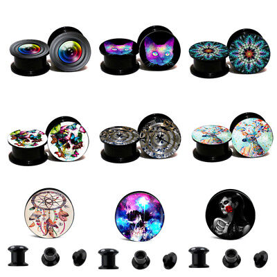 Pair Acrylic Punk Flared Saddle Screw Flesh Tunnel Ear Plug Expander Piercing