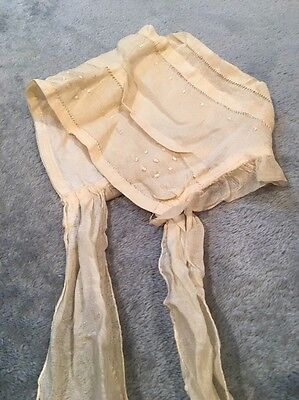 Antique Silk Baby Or Doll Bonnet Cream Ivory With Silk Ties Vintage