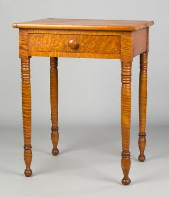 Country Sheraton Tiger Maple One Drawer Stand Lot 645