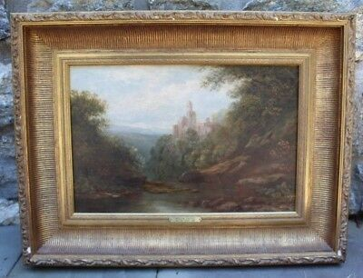 "Vintage Oil Painting on Canvas Gold Gilt Frame ""Roslin Castle"" by William Currie"