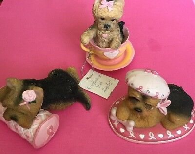 Hamilton Brimming With Personality Collection -Set Of 3 Yorkies Breast Cancer