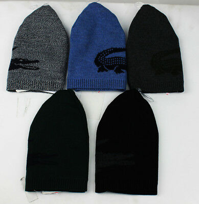 9ef9b8893fa Lacoste Men s large croc contrast merino REVERSIBLE Wool Beanie RB3531 TU  ONE