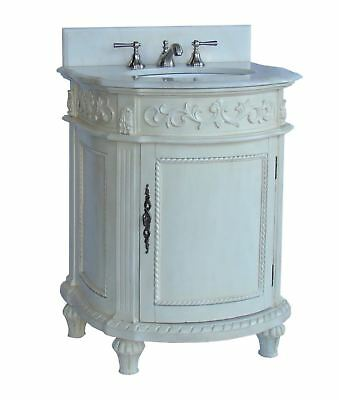46 Cottage Look Abbeville Bathroom Sink Vanity White Marble Top