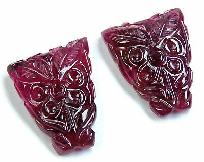 27.5 Cts Natural Pink Tourmaline Carved Pair Flower Design Handcrafted Carving