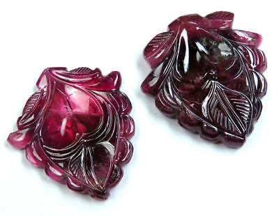 51.2 CTS Natural Pink Tourmaline Watermelon Carved Flower Pair Handmade Carving