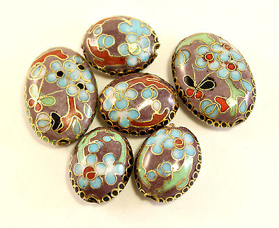 Four 16mm Oval & Two 21mm Multi Color Enamel Overlay on Metal Cloisonne Beads