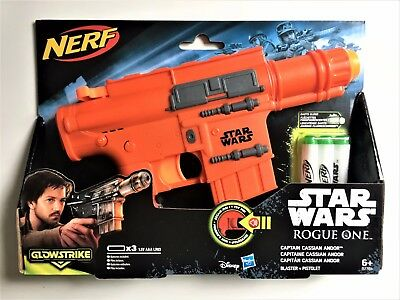 Nerf Toy Gun STAR WARS Blaster Pistol Captain Cassian Andor + GLOW STRIKE Darts