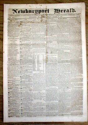 1840 newspaper with WHIG PARTY Ad WILLIAM HENRY HARRISON for PRESIDENT of the US