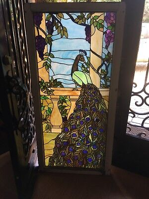 Stained Glass Peacocks pair left and right