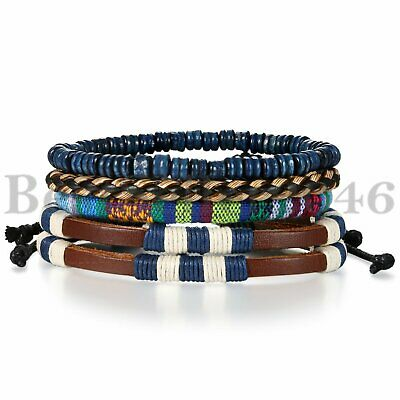 4pcs Fashion Bracelet Beads Leather Mix Cuff Beaded Bracelet Set for Men Women