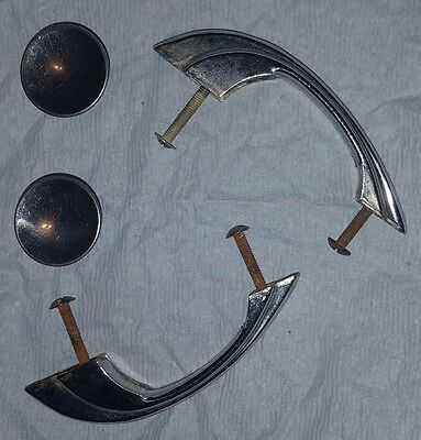 crome Handle and 2 cabinet knob Silver Antique Vintage retro kitchen knobs pulls