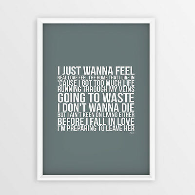 Robbie Williams Feel Lyrics Song No Frame A4 A3 Sizes Typography Printed Picture