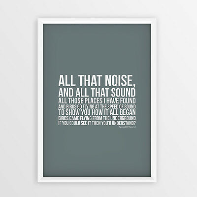 Coldplay Speed of Sound Lyrics Print Typology Style Poster A4 A3 Size