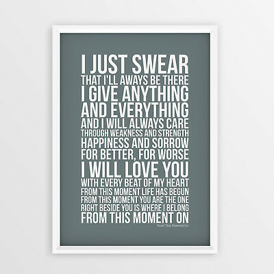 Shania Twain From This Moment on Lyrics Song Unframed A4 A3 Size Poster Print